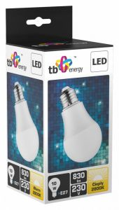 LED TB Energy E27 230V 10W Bialy cieply